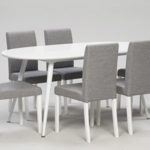 Oslo pöytä ovaali valkoinen ja capri tuoli 6kpl harmaa